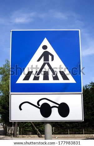 Blind person road traffic sign - stock photo