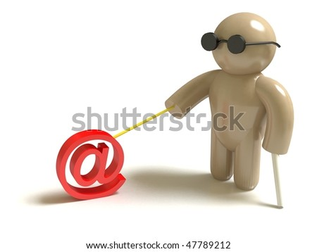 "Blind without web. ""At"" on the leash. - stock photo"