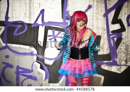 Blinded asian goth lolita shouting desperately. - stock photo