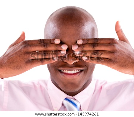 Blinded business man covering his eyes - isolated over white background - stock photo