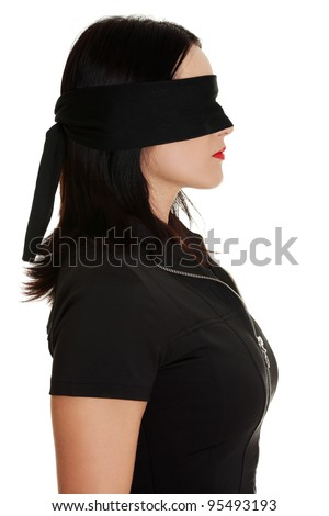 Blindfold business woman, isolated on white background - stock photo