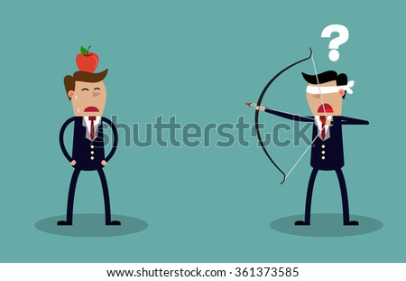 Blindfold businessman executive holding bow and arrow aiming to shoot at apple on another mans head. Business risk concept. illustration Raster version - stock photo