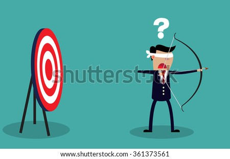 Blindfold businessman holding bow and arrow look for target in wrong direction. Business concept. illustration Raster version - stock photo