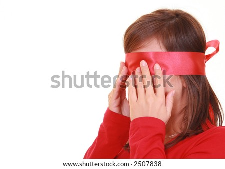 blindfold lady in red isolated on white - stock photo