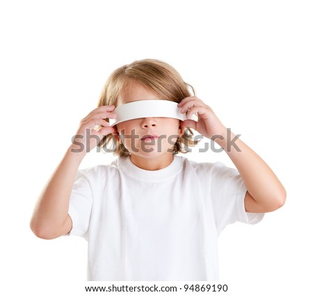 blindfolded children blond kid portrait isolated on white - stock photo