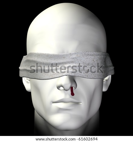 Blindfolded tortured man with bleeding nose. 3d illustration. - stock photo