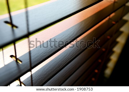 Blinds inside a window - stock photo