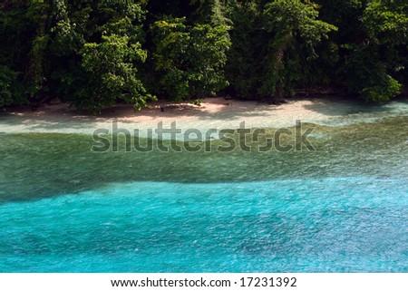 blissful view of island beachfront - stock photo