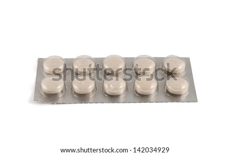 Blister bubble pack of round pills isolated over white background - stock photo