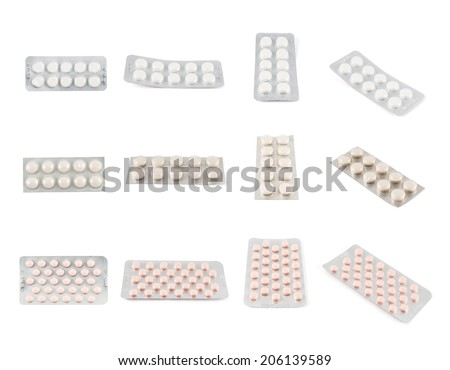 Blister bubble pack of round pills of a three kinds, isolated over white background, set of four foreshortenings - stock photo