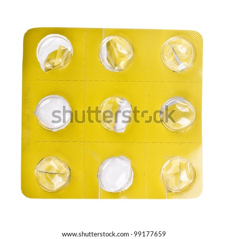 blister close up of pill package on white background with clipping path - stock photo