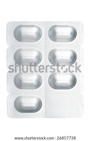 Blister pack containing medical pills isolated on white background. Path included - stock photo
