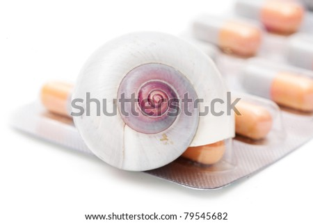 blister pack of pills isolated on the white background - stock photo