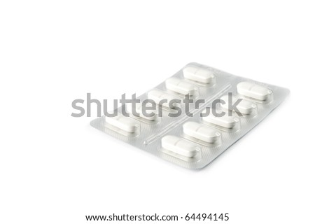 Blister pack of pills isolated on white - stock photo