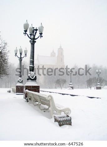 Blizzard in square of Vilnius, Lithuania. - stock photo