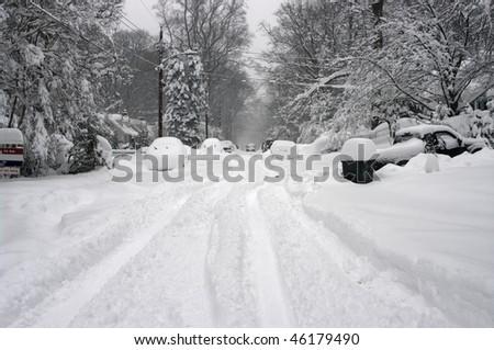 Blizzard in Washington DC area - stock photo