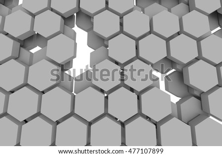 Block chain network concept , Distributed ledger technology , Gray Hexagon six-sided polygon symbol on white background . 3D illustration