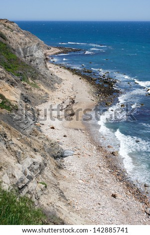 Block Island Rhode Island - View of the Mohegan Bluffs section of Block Island located in the state of Rhode Island USA. - stock photo