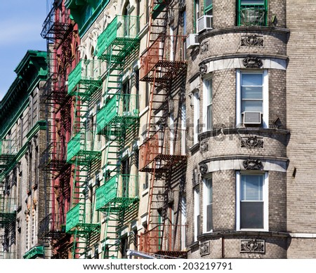 Block of buildings in Manhattan, New York City - stock photo