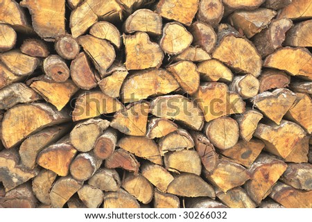 Block of firewood piled up