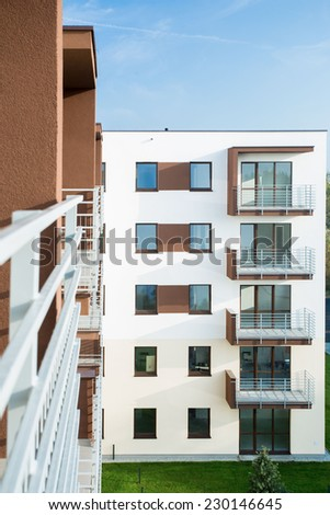 Block of flats at the new subdivision - stock photo
