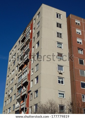 Block of flats , old panel buildings. - stock photo