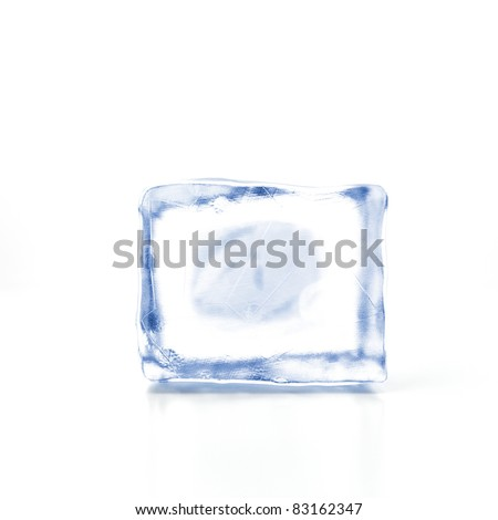 Block of ice on a white background - stock photo