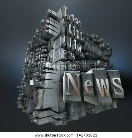 Block of metallic printing letters and the word news - stock photo