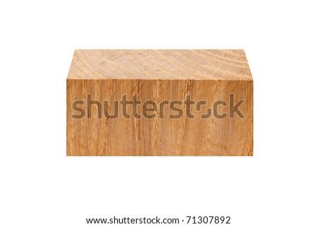block of oak isolated on a white background - stock photo