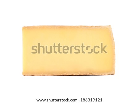 Block of parmesan cheese. Isolated on a white background.