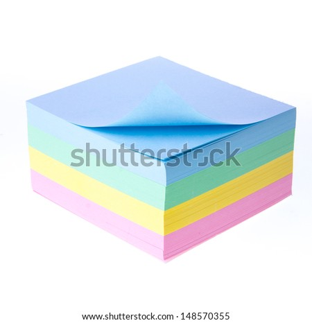 Block of vibrant multicoloured Post it Notes - stock photo