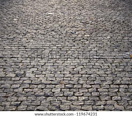 block pavement on sunset. Texture - stock photo