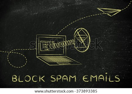 block spam emails: envelope coming out of laptop screen with a screen - stock photo