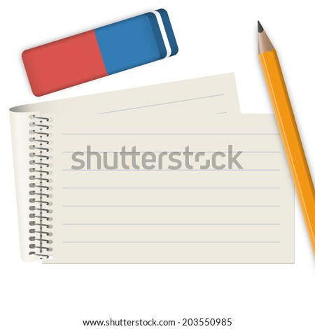 Block with pencil and eraser - stock photo