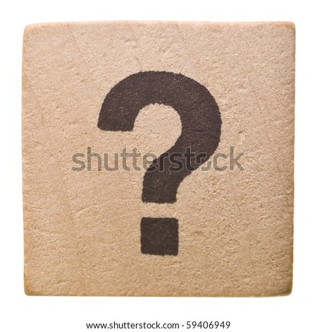 Block with Question Mark isolated on white background - stock photo