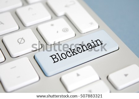 Blockchain written on a keyboard