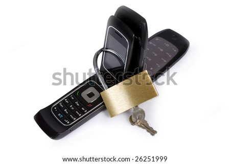 Blocked mobile phone with  lock - stock photo