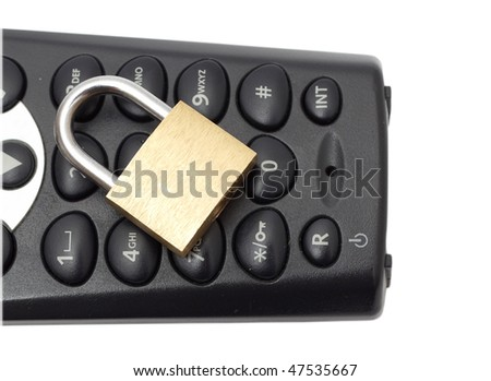 Blocked phone with a chain and lock - stock photo