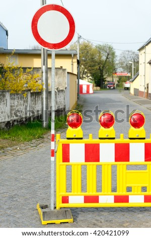 Blocked road with stop sign / blocked road - stock photo