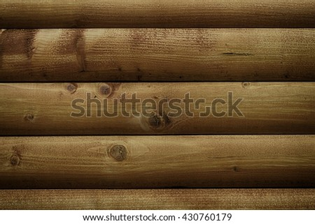 Blockhouse wooden brown wall, close-up - stock photo