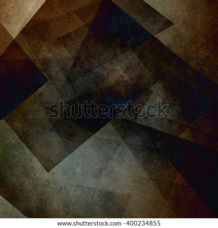 blocks and diamond shapes layered in random pattern, dark earthy black and coffee brown color background image - stock photo