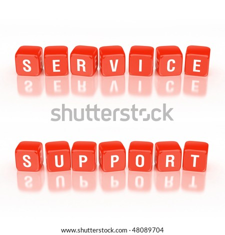 Blocks concept: Service and support words. - stock photo
