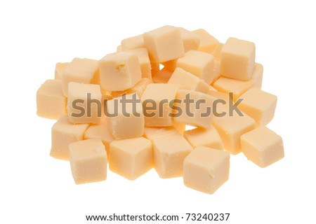 blocks of cheese isolated on a white background - stock photo