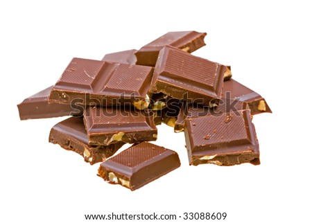 Blocks of chocolate isolated on white