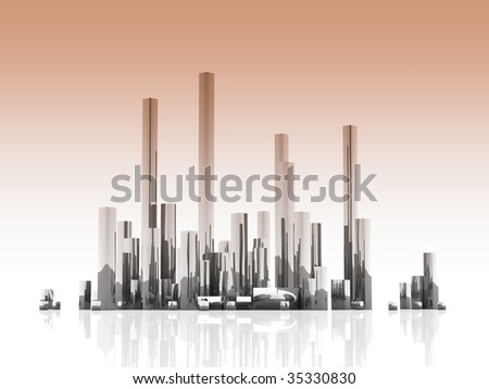 Blocks of color a metallic, reminding high buildings of a megacity - stock photo
