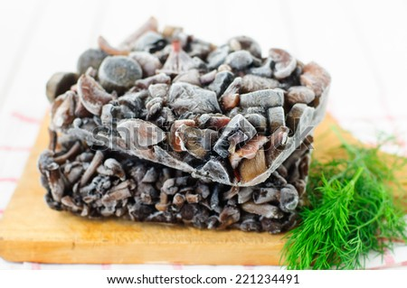 Blocks of Frozen Cut Wild Mushrooms (Honey Fungus, Popcini, Red Cap Bolete, Birch Bolete, Slippery Jack, Orange Milky Cap) - stock photo