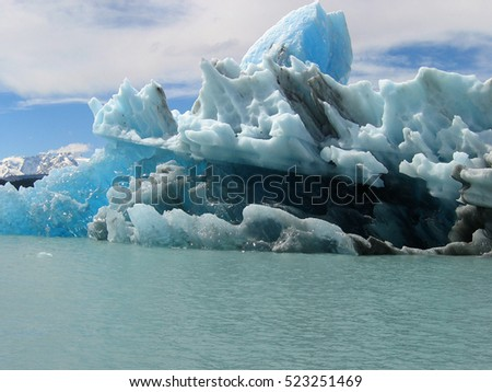 Blocks of ice floating in Lake Argentino. El Calafate. Argentina