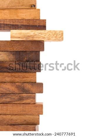Blocks of wood isolated on white background.  - stock photo