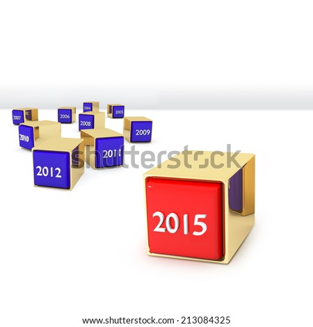 Blocks with different years  - stock photo