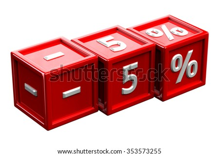 Blocks with sign -5%, isolated on white background.